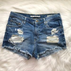 Zara Premium Denim Button Fly Distressed Shorts